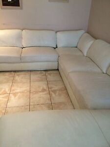 White leather corner lounge & chaise Rosemeadow Campbelltown Area Preview