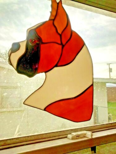 STAINED GLASS - DOG - BOXER- FAWN