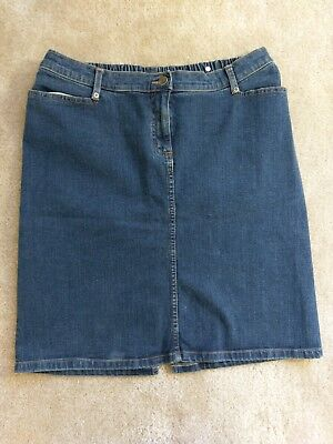 Liz Lange Jean Skirt Sz 12 Lg  Dark Blue Under Belly Stretch Dark Blue Knee Lnth