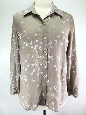 J Jill Blouse SMALL Linen Sparrow Bird Button Down Tan White Long Sleeve Casual