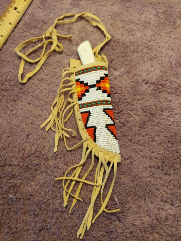 Native American Inspired Beaded Knife Sheath W/knife