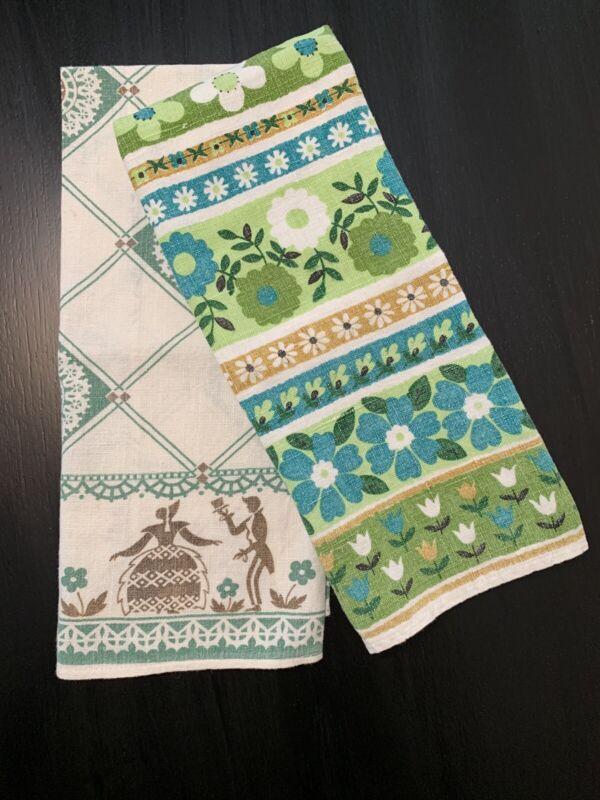 Vintage Tea Dish Towels Mixed Lot, Linen Floral & Figures, Green Tones, 2 Pcs