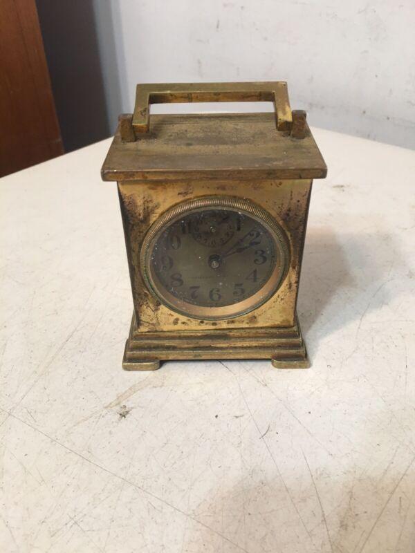 Rare Waterbury Clock Company Brass Alarm Carriage Clock