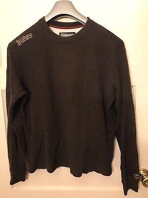 Billabong Thermal Men Sweatshirt Medium Cotton Brown Long Sleeve Embroidered Billabong Cotton Sweatshirt