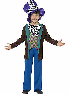Boys Mad Hatter Alice Wonderland Smiffys Book Week Fancy Dress Costume Age - Mad Hatter Kostüm Boy