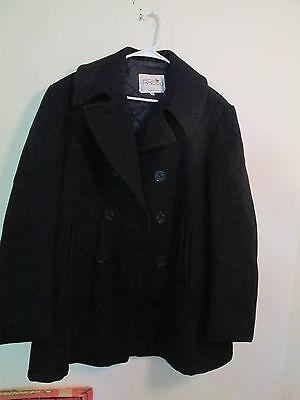 Vintage Fox Knapp Black Peacoat Men's Size 44 10 Button