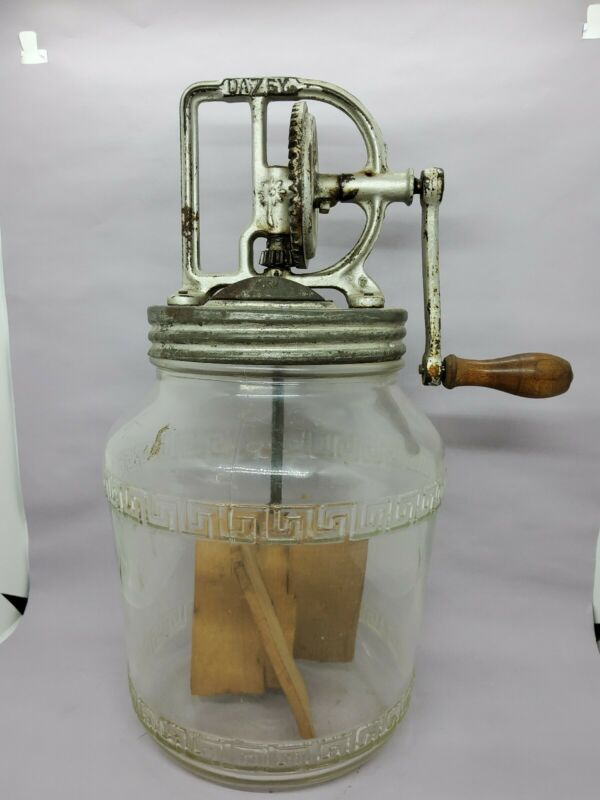 Dazey #34B Butter Churn 4 QT Hazel Atlas Glass Jar Complete W Screen Works Great
