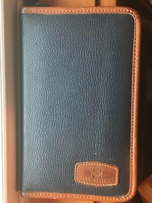 Vtg 90s Day-timer Blue Brown Trim Leather Day Planner Binder 8 X 5 W Inserts