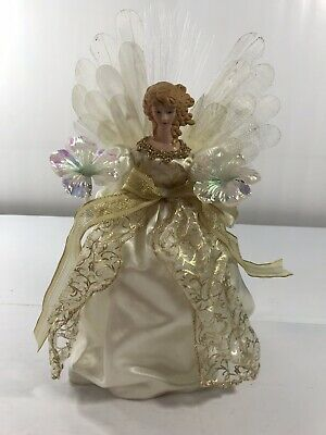 Angel Fiber Optic Gold Beige Christmas Tree Topper Decoration Not Working Parts ()