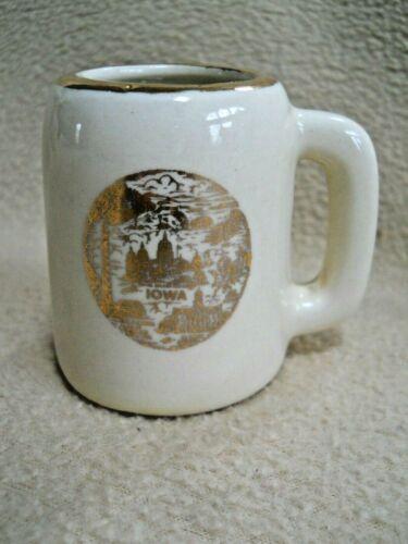 Vintage IOWA Shot Glass / Mini Pottery Stein Souvenir