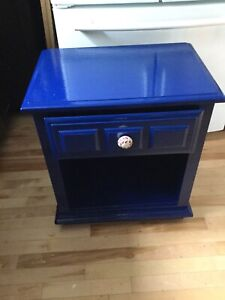 Navy blue single bedside table- available
