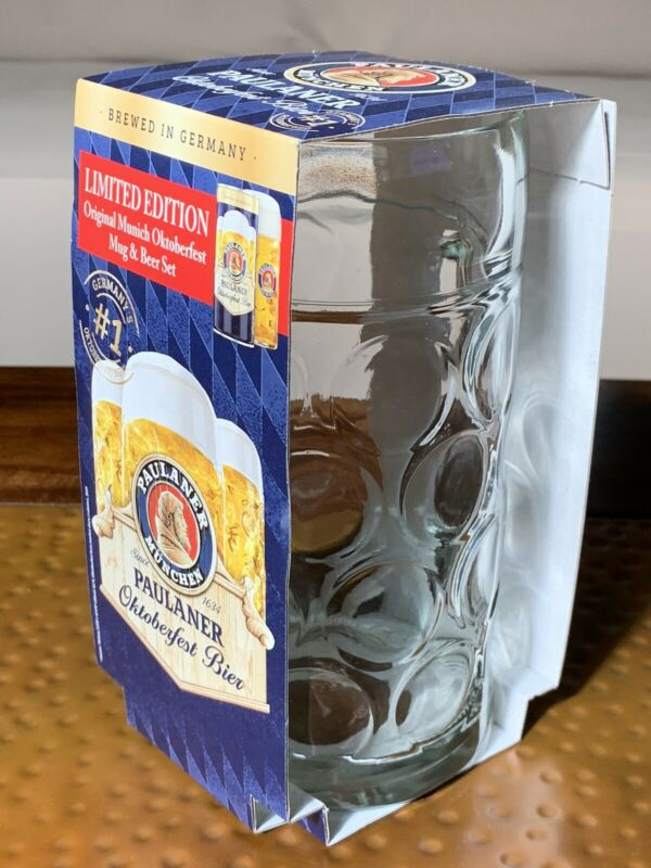 PAULANER LIMITED EDITION LARGE GLASS BEER MUG DIMPLED NEW IN BOX OKTOBERFEST #1