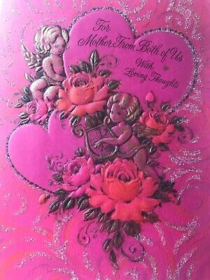 Vintage Valentines Day Card Glitter Gold Cupid Cherub Roses Hearts Pretty, used for sale  Webberville