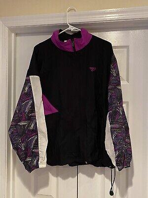 Vintage 90s Reebok Windbreaker Full Zip Up Jacket Mens Large Black White Retro