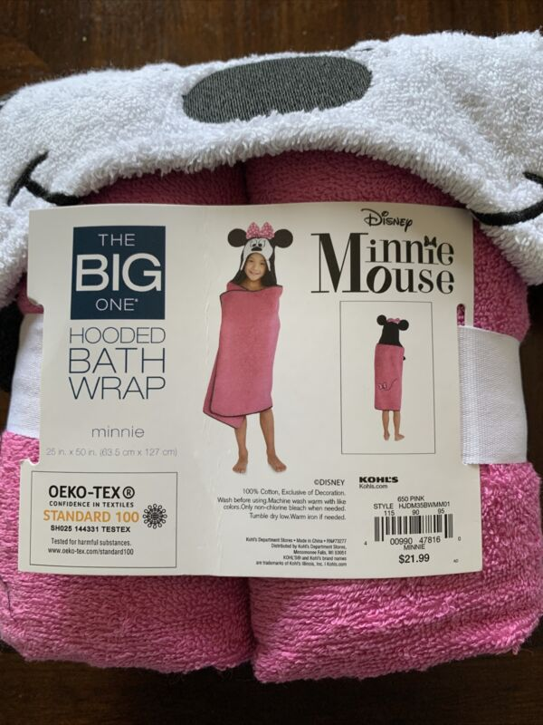 NWT Disney MINNIE MOUSE Hooded Beach Swim Bath Wrap Towel 25 X 50 BIG ONE/