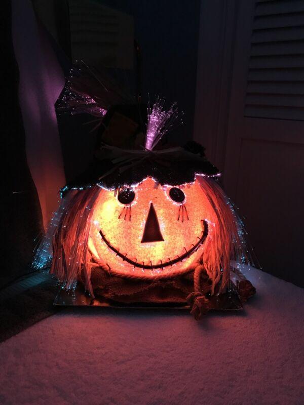 Halloween Fiber Optic Changing Color SCARECROW Pumpkin Head Jack O Lantern