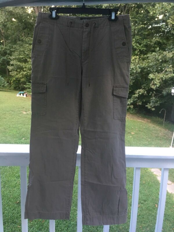 Eddie Bauer Mercer Fit Convertible Hiking Pants Womens 8 Dark Tan Cotton Roll-Up