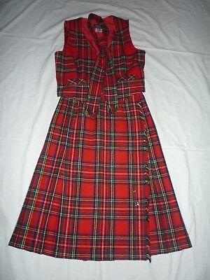 Schotte Schulmädchen echter Aberdeen Kilt rot kariert - Kilt Mädchen Kostüm