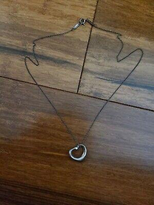 """Tiffany & Co. Elsa Perreti Diamond Open Heart Curb Necklace Pendant 16""""  928"""