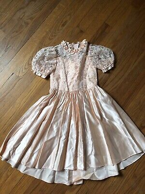 Girls Vintage Alfred Angelo Size 4 Flower Girl Dress Peach Satin And Lace Bow