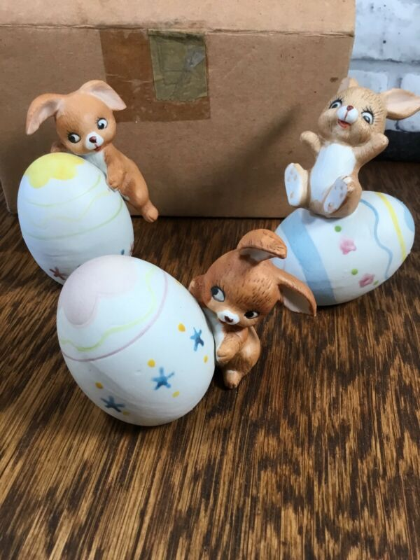 3 Vtg Tumbling Bunnies With Easter Eggs Korea Bisque W/ Box Rabbit Figurines