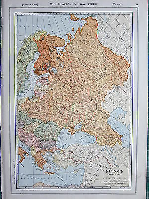 1926 MAP ~ EUROPE EASTERN PART RUSSIA FINLAND POLAND BULGARIA RUMANIA