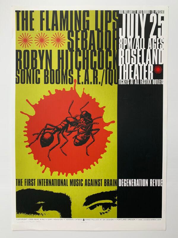 "1999 Flaming Lips Sebadoh Mike King Signed Poster 18"" X 26"" 73/130 Gary Houston"