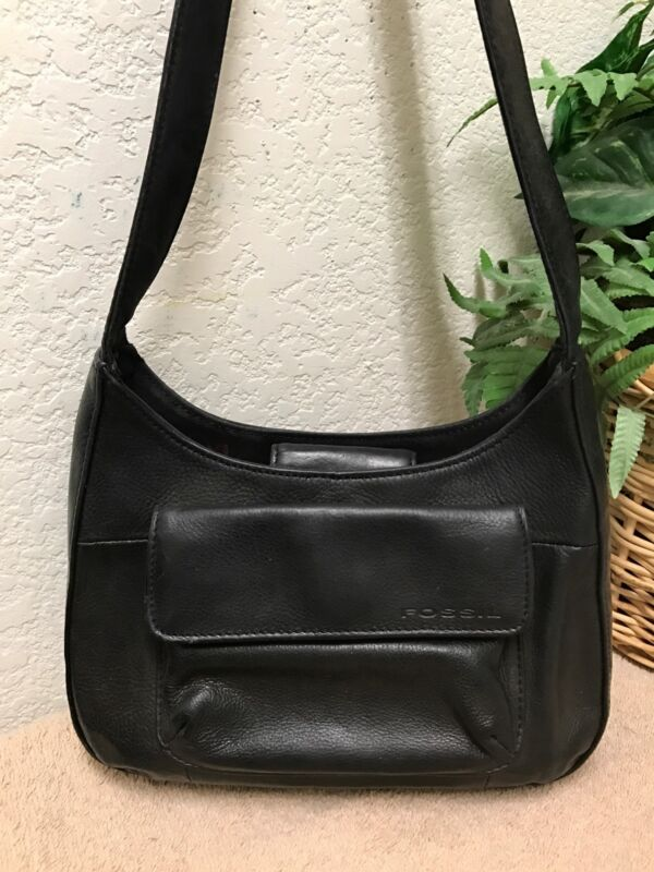 Fossil Vintage Black Leather Zip Around Organizer Shoulder Handbag Hobo Bag