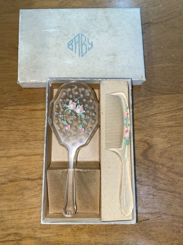 Beautiful Vintage Baby Comb and Brush Box Set  Floral Clear Pink Roses In Box