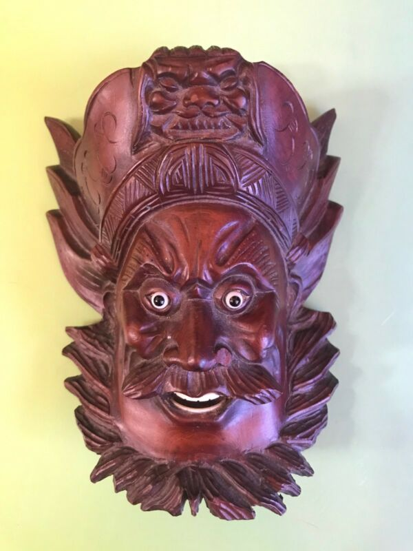 Antique Chinese Over-Door Carved Wood Head Bearded Man Mask China Vintage