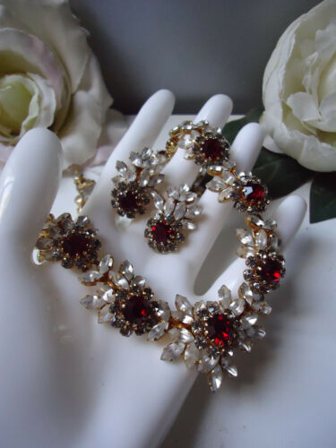 SCHOFFEL Stunning Vintage Necklace Earrings 1950s Red Moonstone Crystal Goldtone