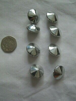 Vintage unusual silver plastic buttons x 8: ? 1980s