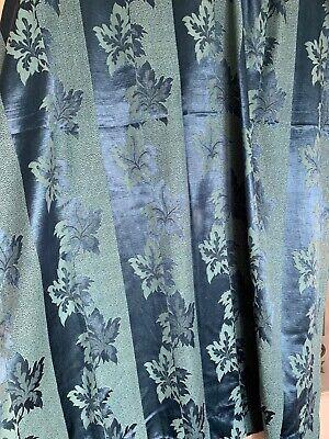 Pair of vintage retro, blue leaf, satin 2 tone, curtains/fabric vintage 50s, 60s