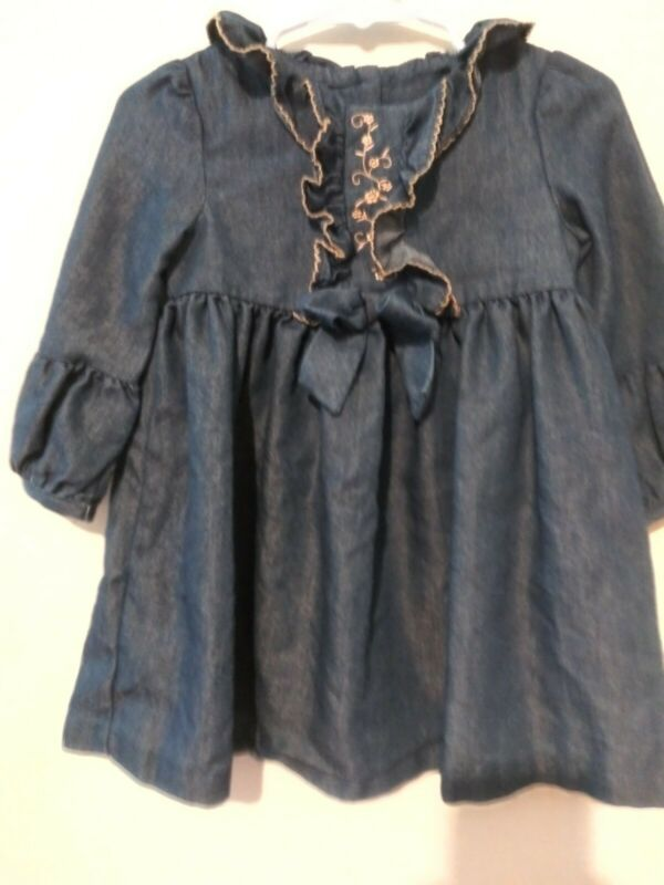 Bonnie Baby Denim 18 month long sleeve dress with Some gold trim