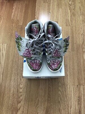 Jeremy Scott Adidas Floral Size 5 Grey Wings Trainers