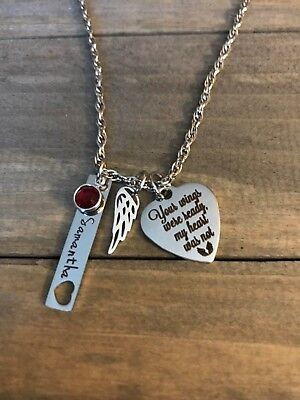 Memorial Necklace Personalized name birthstone Angel Wing Loss Sympathy Gift