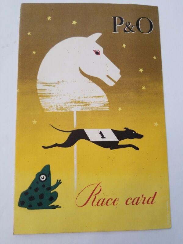 1957 P&O Cruise Ship CHUSAN Dog Race Meeting Dance Drinking Card BT957