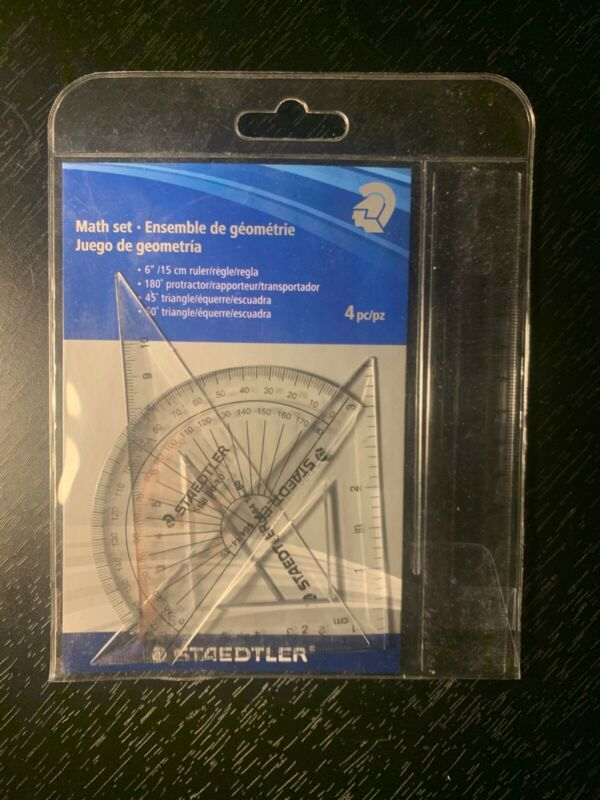 New Sealed Math Set Geometry Protractor Triangle Ruler Lot of 4 Tool Drawing