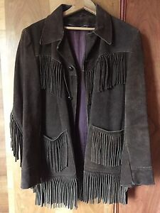 Brown Suede Fringe Jacket Coat Retro Western 70s Stampede