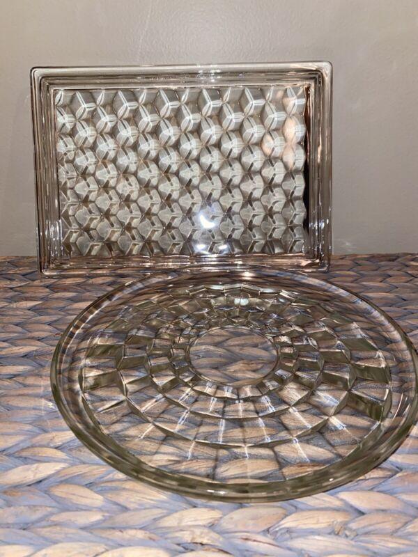 Vintage Fostoria American Clear Glass Dessert & Round Tray - Set Of 2