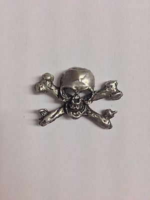 Skull And Cross Bones S19 Made from Solid Fine English Pewter Pin Lapel Badge