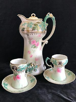 RS Prussia Pink Roses Chocolate Pot with 3 Cups 2 Saucers