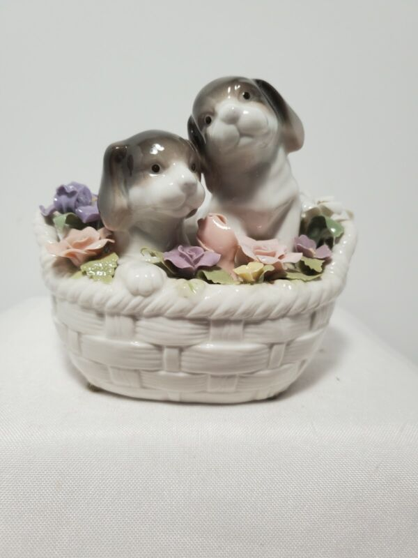 The San Francisco Music Box Company Puppies In Basket Anna Rosa Collection