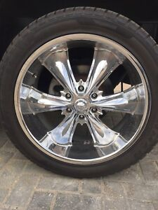 """Please read ad 5-22"""" incubus alloy rims and brand new tires"""
