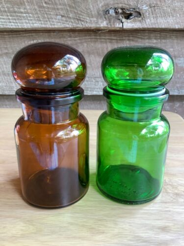 """Vintage Bubble Top Glass Jars Set of 2 Brown Green Apothecary Belgium Chunky 5"""""""