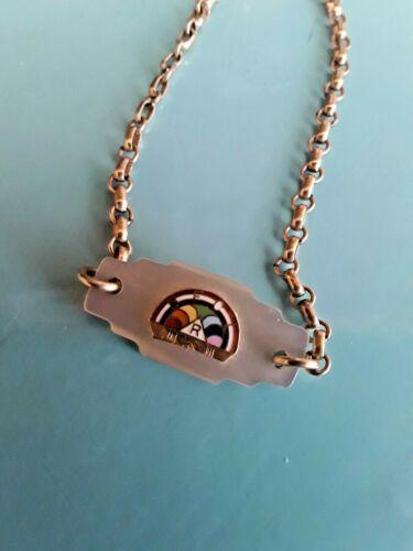 VINTAGE Masonic BFCL Rainbow Girls Club Bracelet ENAMEL & Mother of Pearl