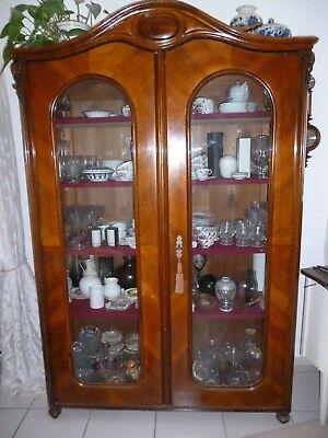 Antik Wiener Schrank 2-türiger Glasschrank Vitrine Glasschrank Bücherschrank