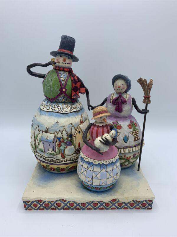 "Jim Shore Snowman Family Figurine "" Warm Hearts On Frosty Days "" Enesco 2006"