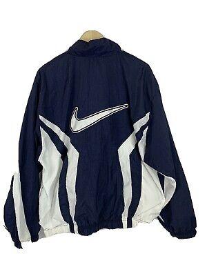 Vtg 90s Nike Windbreaker Spell Out Big Logo Swoosh Sz Large Navy Blue white