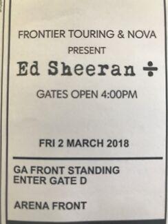2 x Ed Sheeran Front Standing Tickets